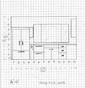 plan for farmhouse kitchen window and fridge