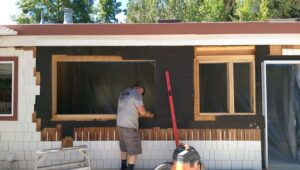 custom window built. Siding had to be removed.