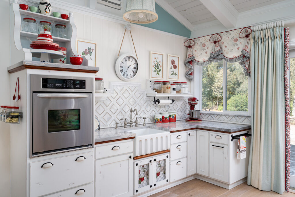 These top treatments are featured in both the cottage kitchen and the baking center
